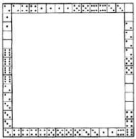 Marco cuadrado con fichas de dominó