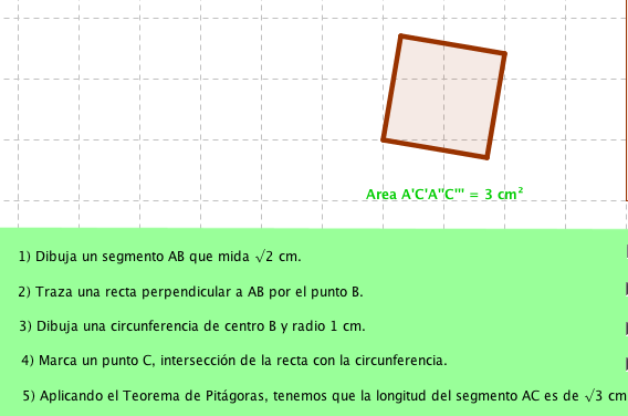 Dibuja un cuadrado de área 3