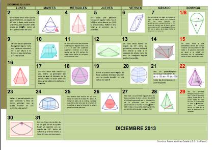Calendario matemático. Diciembre 2013