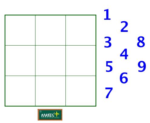 Múltiplos de 9 en un cuadrado mágico